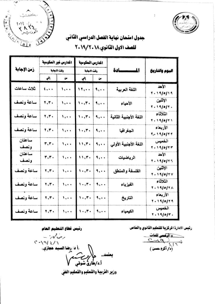 وزير التربية والتعليم يعتمد جدول امتحانات الصف الاول الثانوي