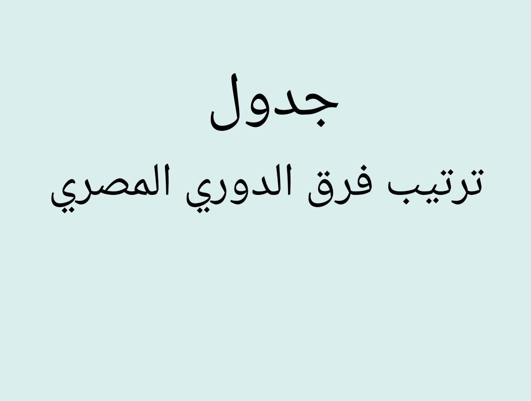 ترتيب فرق الدوري المصري