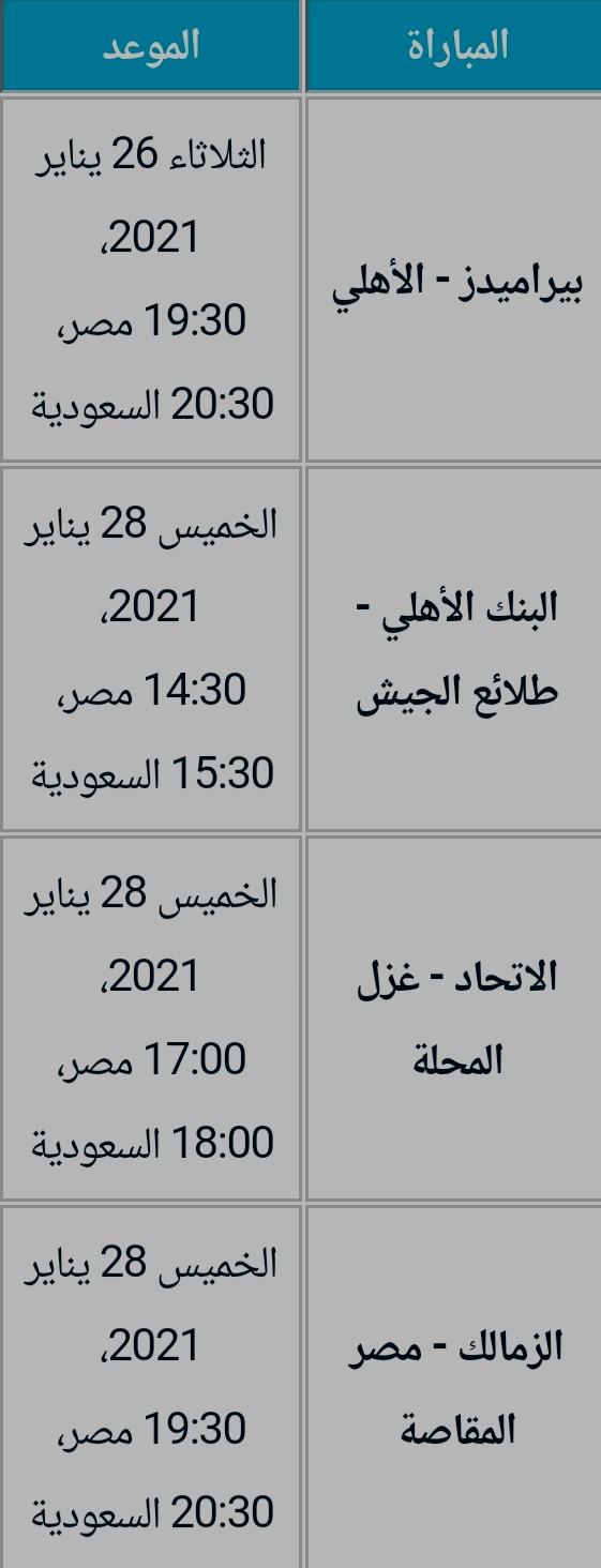 جدول الجولة العاشرة في الدوري المصري