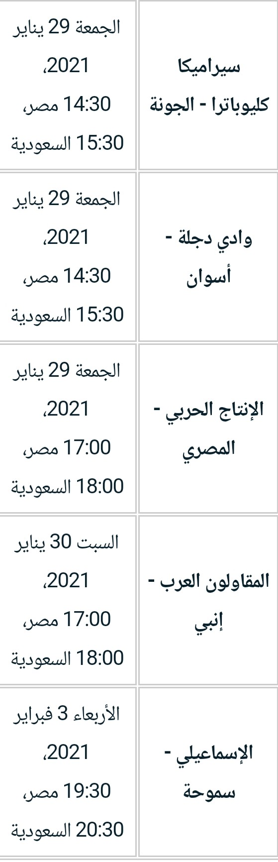 الجولة العاشرة في الدوري المصري